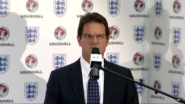 football association confirms vauxhall sponsorship deal for england teams fabio capello announcement / photocall england london wembley stadium... - football association stock videos & royalty-free footage