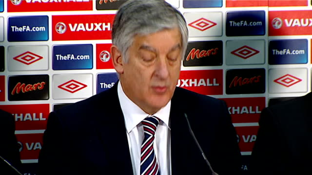 football association deny forcing fabio capello from job / speculation over england manager job england london wembley stadium panel into presser and... - football association stock videos & royalty-free footage