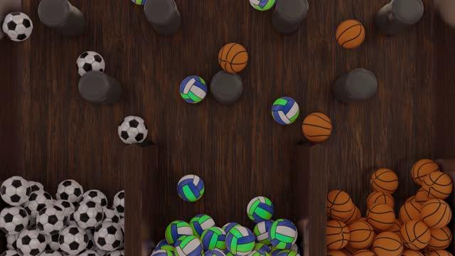 vidéos et rushes de jeu de football, basket-ball et ballons de volley-ball plinko ball - loterie