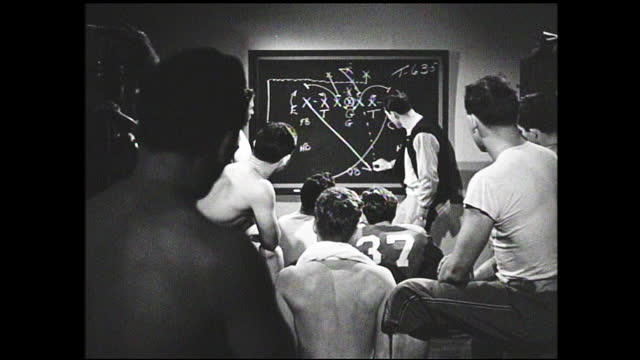 football coach explaining tactics on blackboard to players inside classroom - 1940 1949 stock videos & royalty-free footage