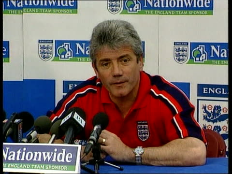 euro 2000 qualifiers england prepare kevin keegan press conference sot need to win game against sweden fa spokesman steve double i/c - euro 2000 stock videos & royalty-free footage
