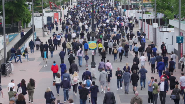 football fans on the way to the match. - wembley stock videos & royalty-free footage