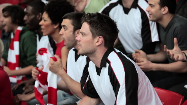 football fans watching match and celebrating a goal - 2010 stock-videos und b-roll-filmmaterial
