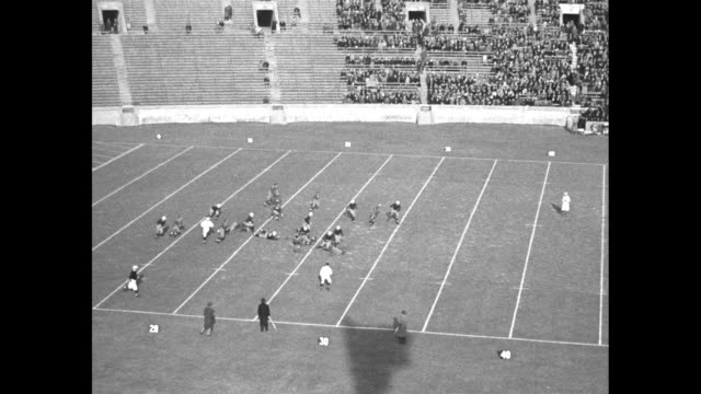 vs football game between the georgia bulldogs and the yale bulldogs in play interspersed with shots of spectators at the yale bowl - yale universität stock-videos und b-roll-filmmaterial
