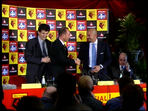 Gianluca Vialli new Watford manager ENGLAND Watford Vicarage Lane New Watford FC Manager Gianluca Vialli shaking with Watford officials at press...