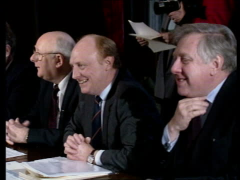 football id card scheme b london westminster labour leaders seated at meeting with football players and officials side labour leader neil kinnock as... - card table stock videos & royalty-free footage
