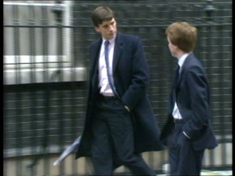 football id cards **** for england london downing street cabinet arrivals sports minister colin moynihan /paul channon along with kenneth clarke /tom... - kenneth clarke stock-videos und b-roll-filmmaterial
