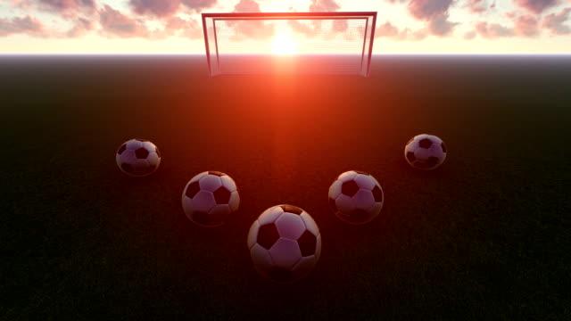 vídeos y material grabado en eventos de stock de fútbol en la puesta del sol - liga de campeones