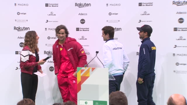 football player gerard pique and tennis player feliciano lópez attend the presentation of the davis cup by rakuten madrid finals of 2019 that will be... - davis cup stock videos & royalty-free footage