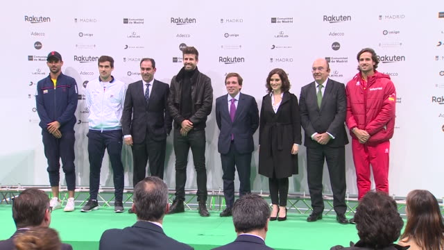 football player gerard pique and tennis player feliciano lópez attend the presentation of the davis cup by rakuten madrid finals of 2019 that will be... - davis cup stock-videos und b-roll-filmmaterial