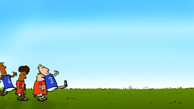 football players endlessly chase a ball - cartoon stock videos & royalty-free footage