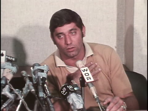 ms of football players joe namath and pete rozelle are giving a press conference namath says my principle when it's far as what i'm thinking for at... - 1960 1969 stock videos & royalty-free footage