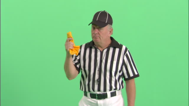 ms, football referee standing in studio, portrait - referee stock videos & royalty-free footage