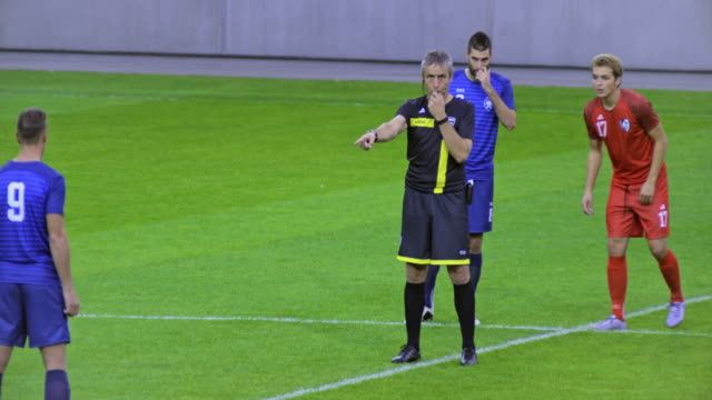 football referee starting the match - whistling stock videos & royalty-free footage