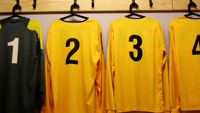 Football / Soccer kit in changing room (DOLLY) close