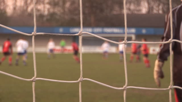 Fußball match Dolly hinter dem Tor