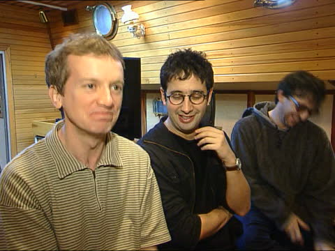 football song for 1998 world cup:; itn england: london: int i/c david baddiel standing with frank skinner & ian brody intvwd sot - we have written... - 12 13 years stock videos & royalty-free footage