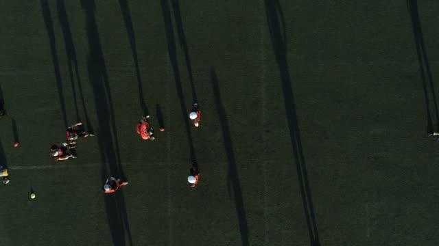 Football team practicing