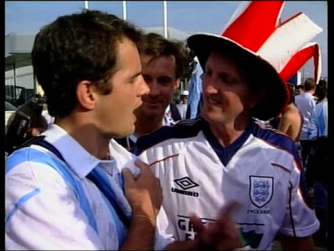 football world cup 1998; b) france: st etienne: int gvs england fans with arms raised singing sot tgv england fans sitting in bar watching match... - drummer stock videos & royalty-free footage