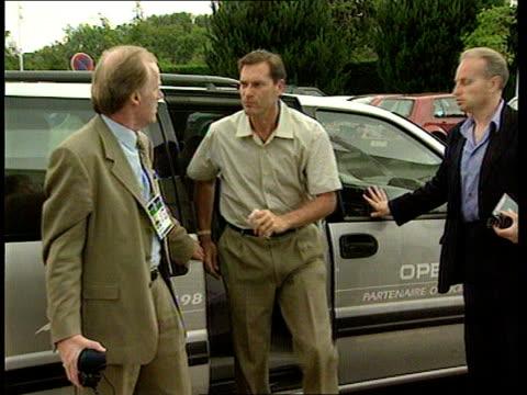 world cup itn france brittany la baule england coach glenn hoddle and fa spokesman david davies from car - glenn hoddle stock videos & royalty-free footage