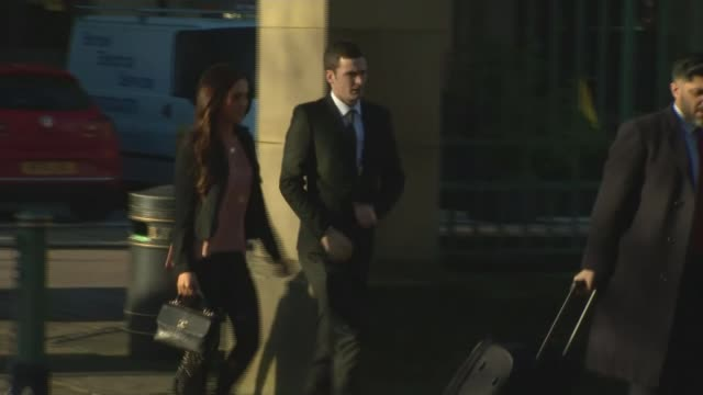 footballer adam johnson pleads guilty to two child sex crimes ****some yorkshire bradford ext various of footballer adam johnson and girlfriend... - 懇願する点の映像素材/bロール
