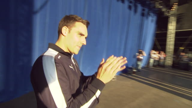 footballer matty james claps as he joins others taking a selfie on stage as leicester city fc and fans celebrate the club's premier league win in... - conquering adversity stock videos and b-roll footage