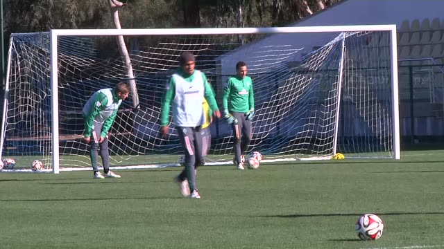 Footballers of SV Werder Bremen attend the team's training session before the second half of the season in Antalya Turkey on January 08 2015 Footage...