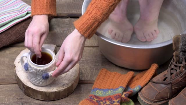 footbath with tea - human toe stock videos and b-roll footage