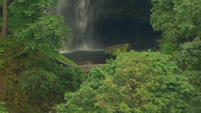vídeos y material grabado en eventos de stock de ms aerial zo footbridge at multnomah falls / oregon, united states - cascadas de multnomah