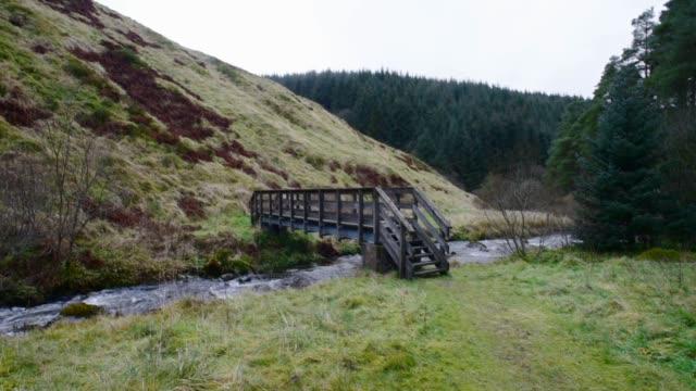footbridge over the water of gregg, ayrshire - david johnson stock videos & royalty-free footage