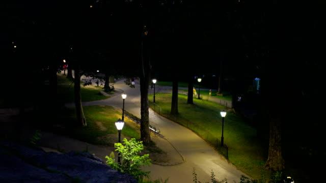 footpath in central park at night - central park manhattan stock-videos und b-roll-filmmaterial