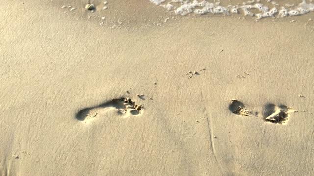 stockvideo's en b-roll-footage met voetafdrukken in het zand op het strand, zonsondergang - voetafdruk