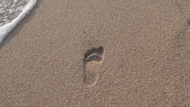 vidéos et rushes de empreintes de pas dans le sable à la plage - spirituality