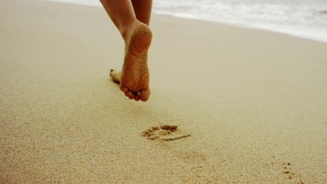 footsteps in the soft sand - human foot stock videos and b-roll footage