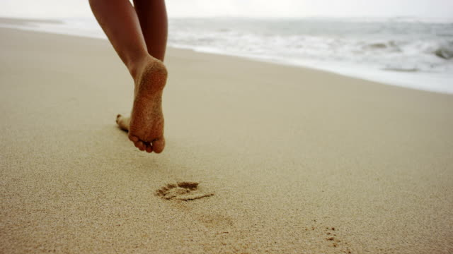 footsteps in the soft sand - footprint stock videos & royalty-free footage