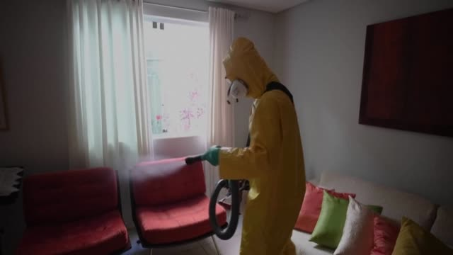 for around 50 dollars for every 100 square meters the private company dr lava tudo in belo horizonte sanitizes houses against the spread of covid19 - horizonte stock videos & royalty-free footage