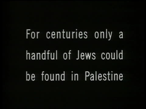 intertitle 'for centurieshandful of jewsin palestine' - judaism stock videos & royalty-free footage