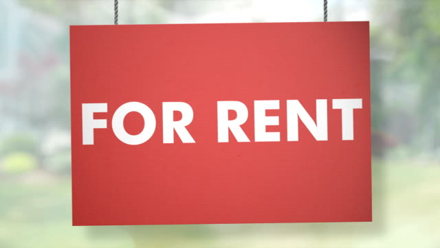 For rent sign hanging from ropes. Luma matte included so you can put your own background.