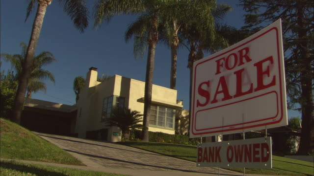 MS, 'For sale' sign in front of suburban house, Studio City, Los Angeles, California, USA