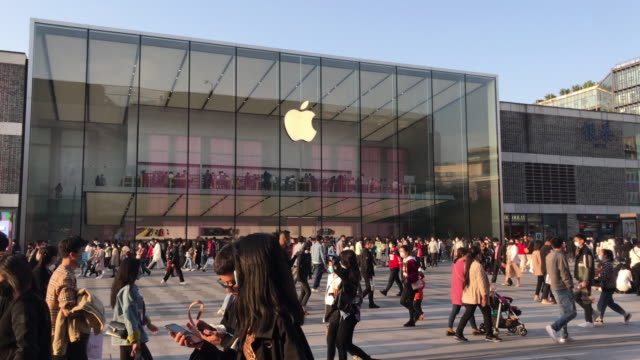 for the covid-19 epidemic situation is much better in china, all 42 official apple retail stores opened on friday, although some stores had special... - smart phone stock videos & royalty-free footage