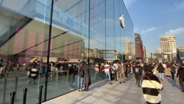 for the covid-19 epidemic situation is much better in china, all 42 official apple retail stores opened on friday, although some stores had special... - other stock videos & royalty-free footage