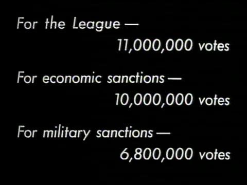 vídeos de stock e filmes b-roll de chart 'for the league 11000 votes for economic sanctions 10000 votes for military sanctions 600 votes' london england - 1935