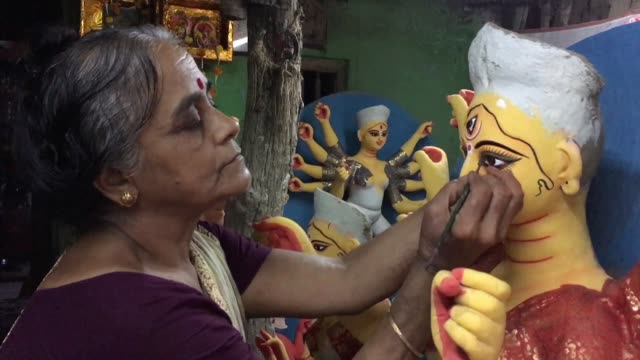For the upcoming Hindu festival of Durga Puja thousands of sculptors are putting finishing touches to idols they've created of goddess Durga that'll...