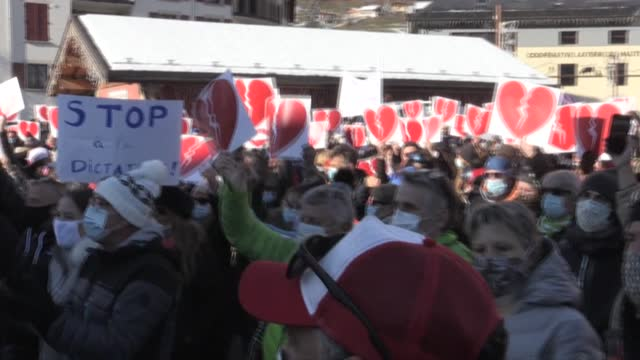 """for us, this decision is unjustifiable"""": in savoie, more than 600 people, representing the entire mountain eco-system gather in bourg-saint-maurice,... - sports period stock videos & royalty-free footage"""