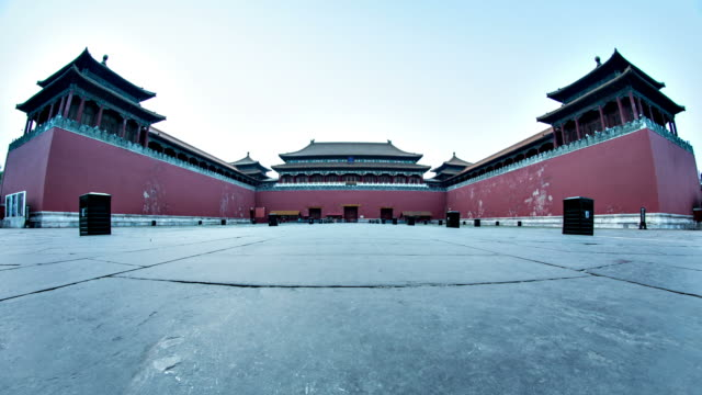 forbidden city entrance superwide timelapse - pavilion stock videos & royalty-free footage