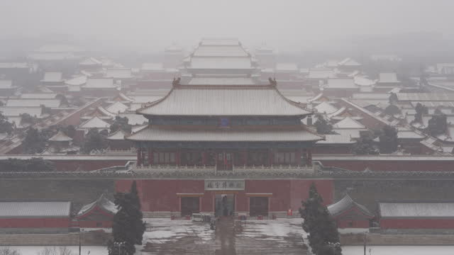forbidden city in snow, beijing, china - beijing stock videos & royalty-free footage
