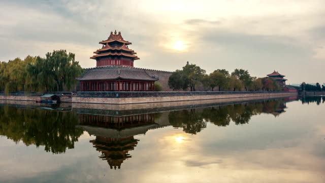 t/l of forbidden city sunset in beijing, china. - forbidden city stock videos & royalty-free footage