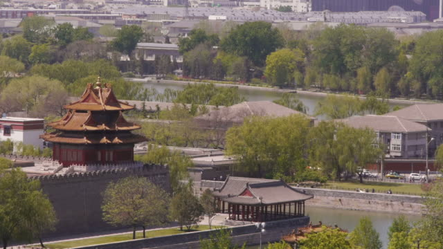 forbidden city, tangzi river, northwest corner tower, turret, moat, beijing, china - moat stock videos & royalty-free footage