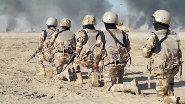 forces and kuwait land forces conduct bilateral maneuver exercise desert observer ii at udairi range, kuwait. - persian gulf stock videos & royalty-free footage