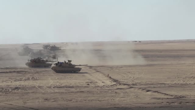 us forces and kuwait land forces conduct bilateral maneuver exercise desert observer ii at udairi range kuwait - 装甲車点の映像素材/bロール